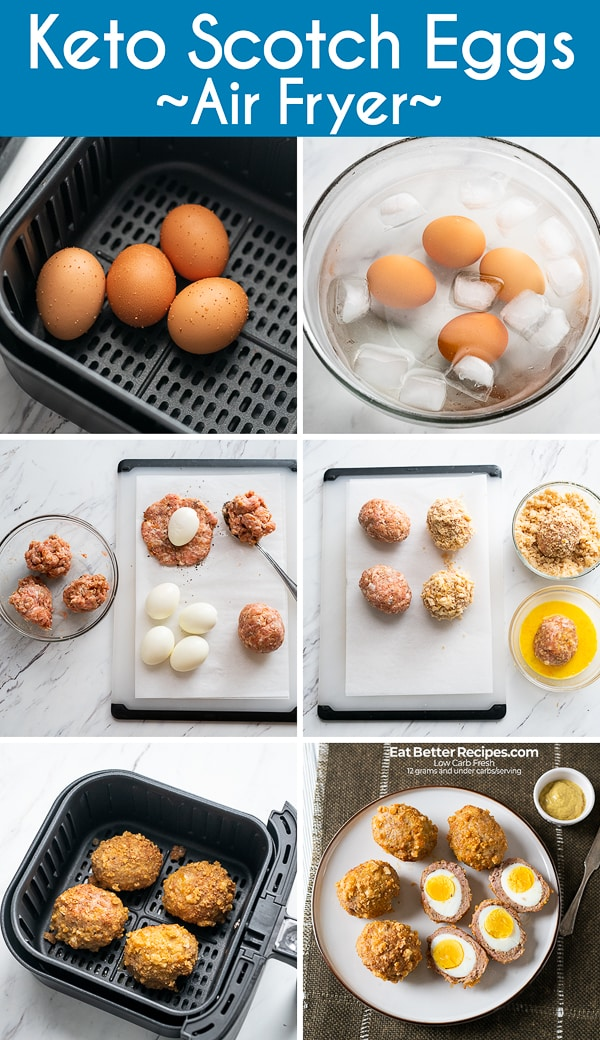Air Fried Scotch Eggs in the Air Fryer Keto, Paleo, Low Carb Recipes | EatBetterRecipes.com
