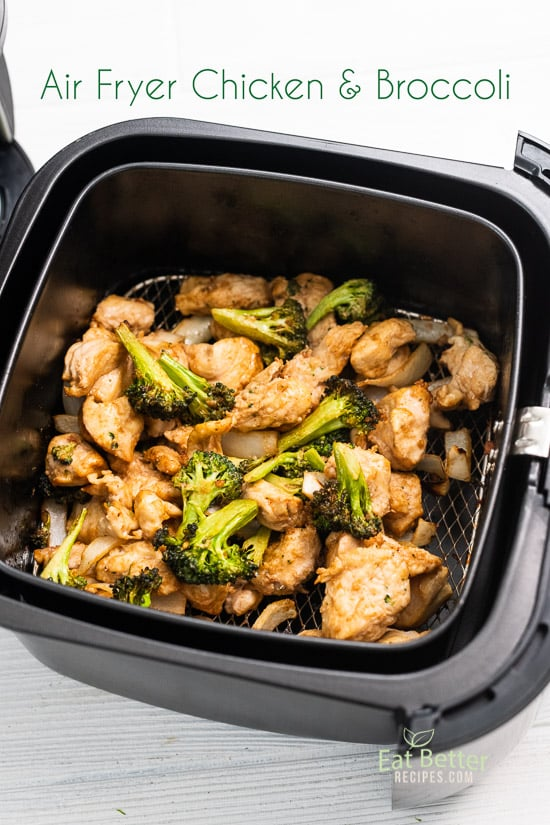 Air Fryer Chicken Broccoli Stir Fry that's Air Fried @EatBetterRecipes