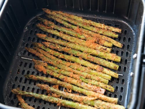 Finished air fried asparagus