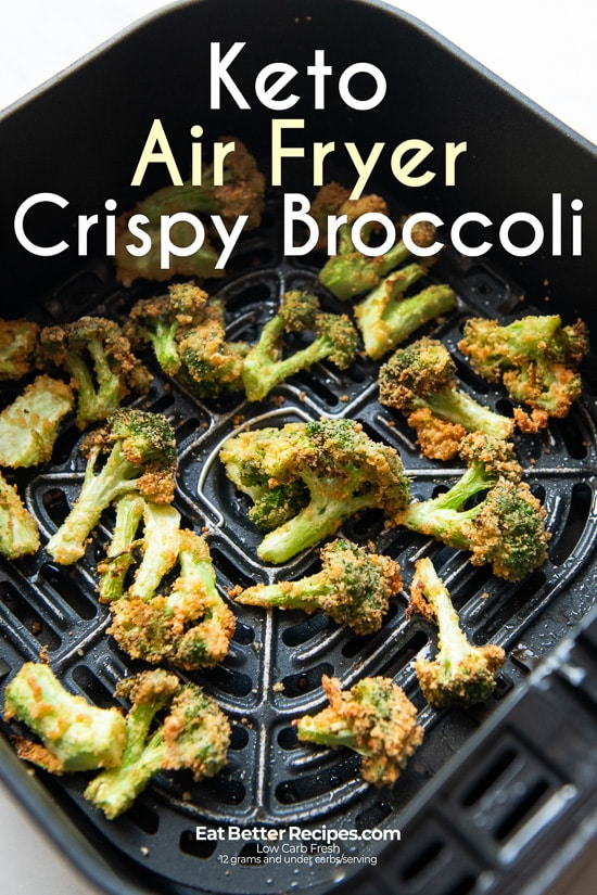 Crispy Air Fryer Broccoli Bites Keto in a basket