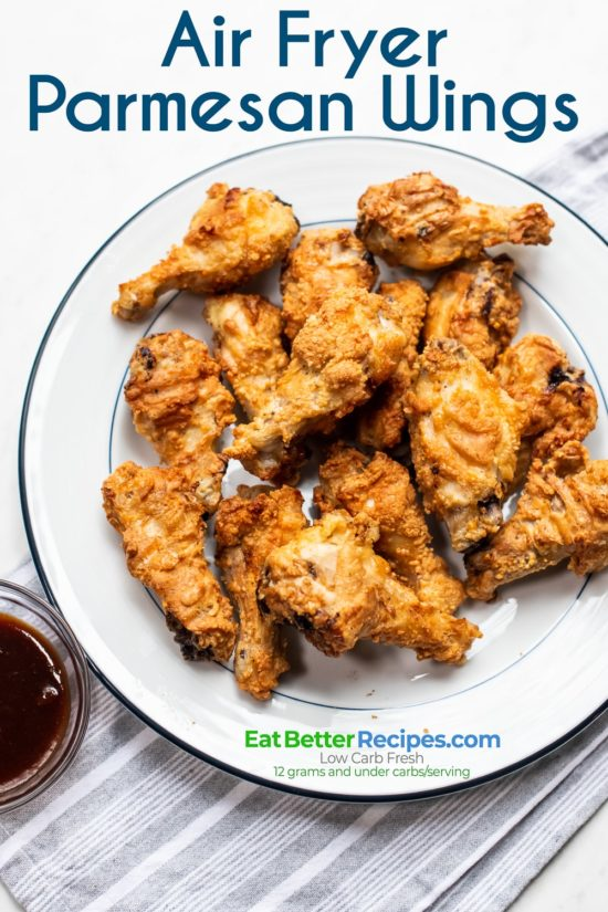 Chicken Wings with Crispy Parmesan Crust on a plate