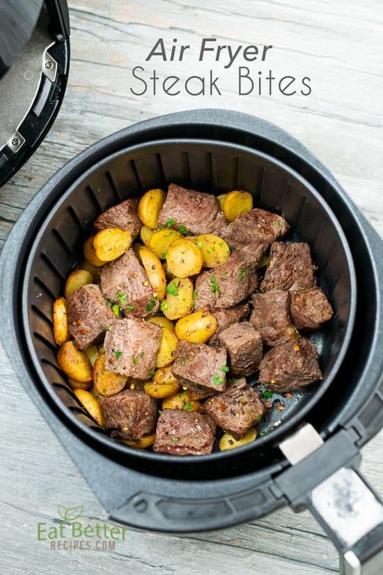 Best Air Fryer Steak Bites in a basket