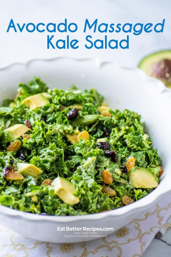 Avocado Massaged Kale Salad in a bowl