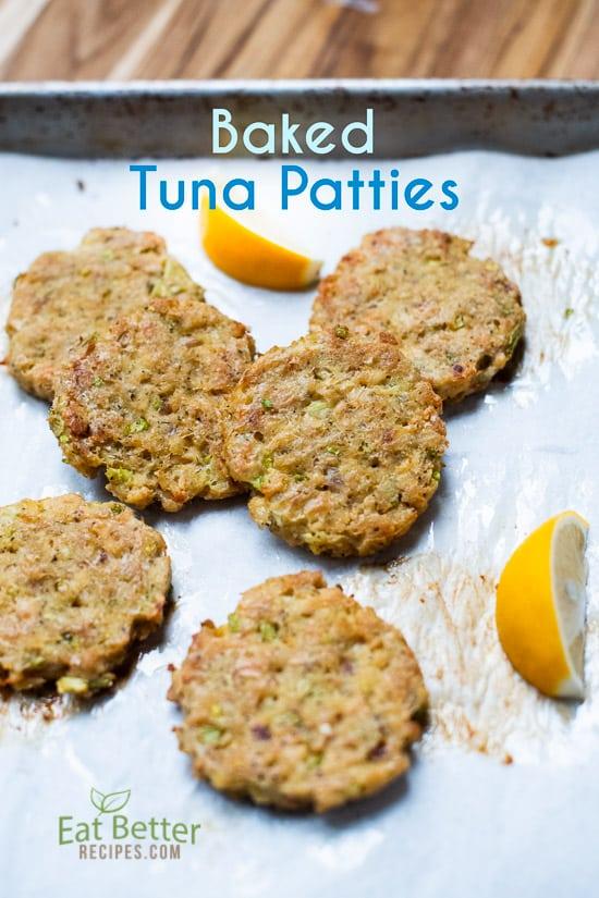 Healthy Baked Tuna Patties on a baking sheet
