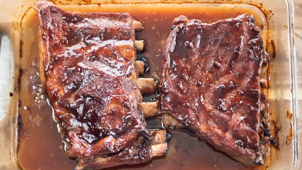Baked pork ribs in dish