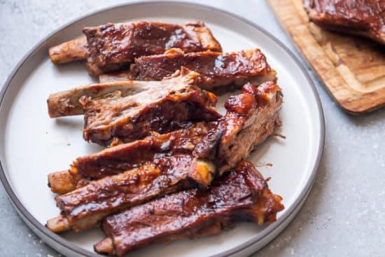 Cut Pork ribs on a plate