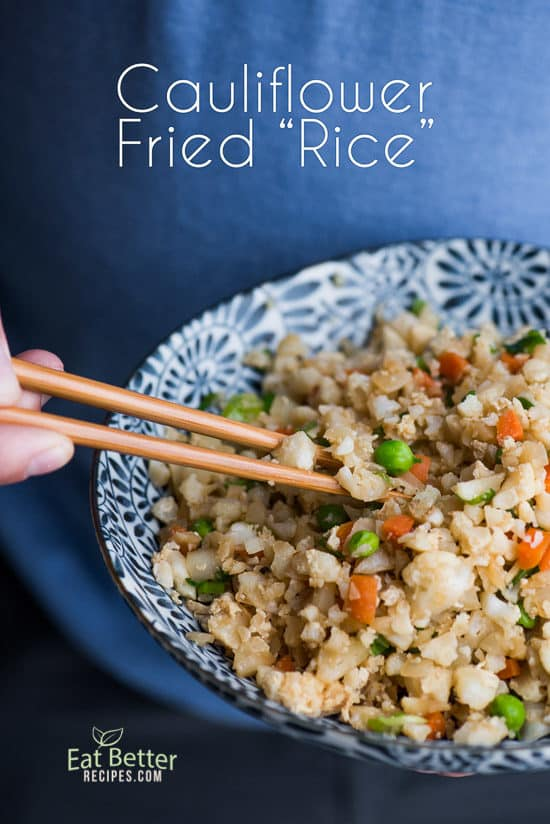 Healthy Low Carb Cauliflower Fried Rice Recipe in a bowl with chopsticks