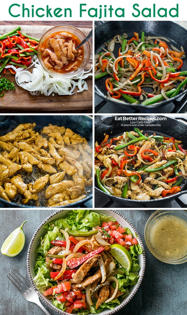 Low Carb Healthy Chicken Fajita Salad Recipe KETO | EatBetterRecipes.com
