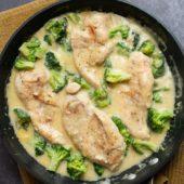 Creamy Garlic Chicken Recipe with Broccoli Easy and Quick Skillet Recipe | BestRecipeBox.com