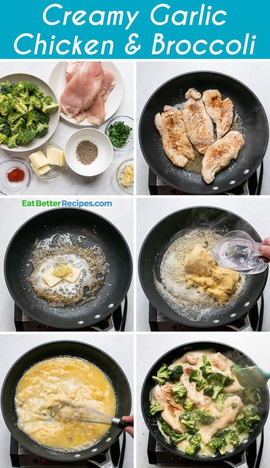 Creamy Garlic Chicken Recipe with Broccoli step by step photos