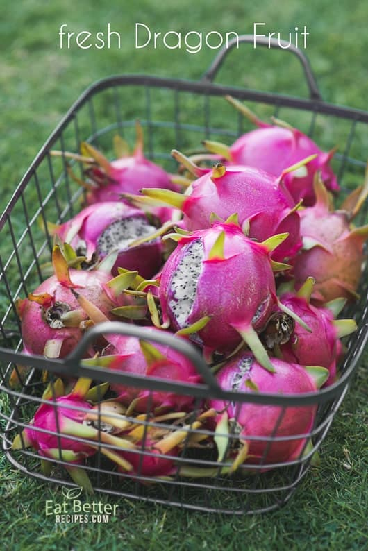 Fresh Dragon fruit in a basket