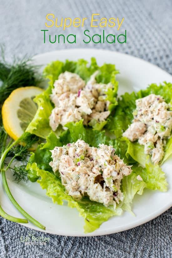 Easy Tuna Salad on lettuce cups