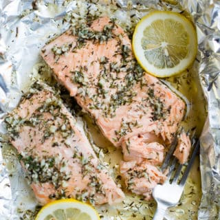 Foil Pack Garlic Salmon Recipe @EatBetterRecipes