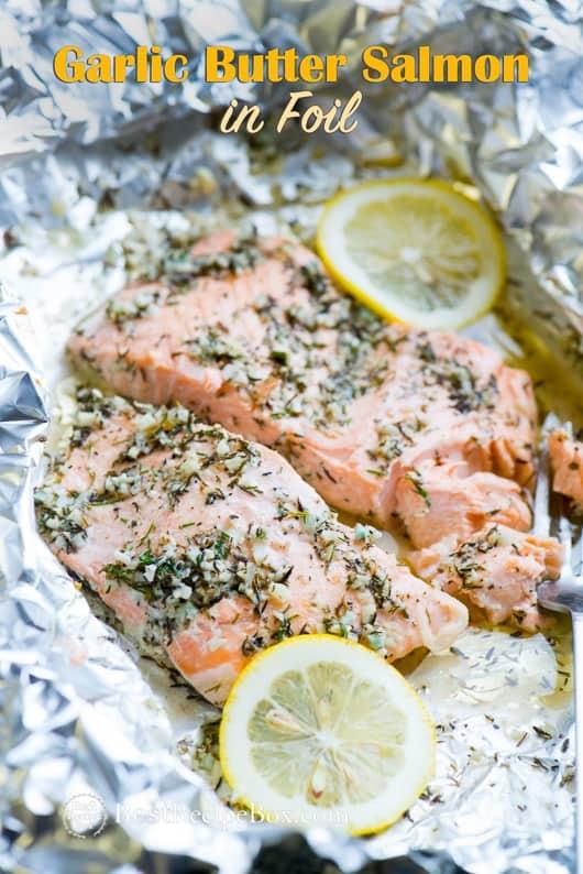 Baked Garlic Butter Salmon in Foil - Healthy Salmon Recipe   @bestrecipebox