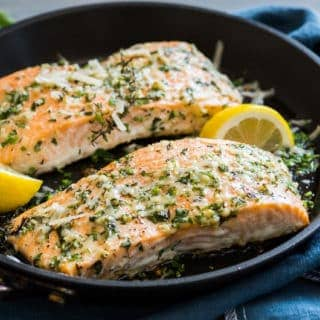 Garlic Parmesan Salmon | @EatBetterRecipes
