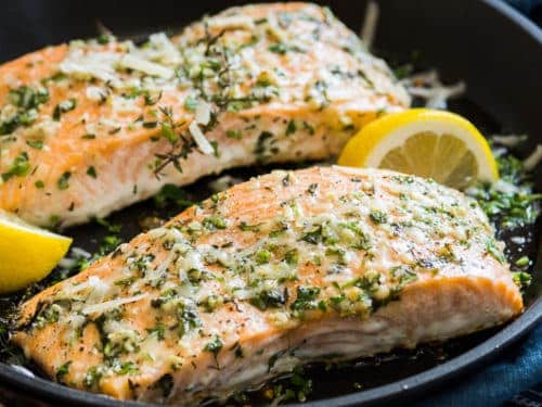 Garlic Parmesan Salmon | @EatBetterRecipes