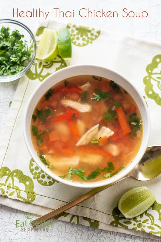 Healthy Sweet & Sour Thai Chicken Soup in a bowl