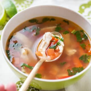 Healthy Sweet & Sour Thai Chicken Soup | @EatBetterRecipes