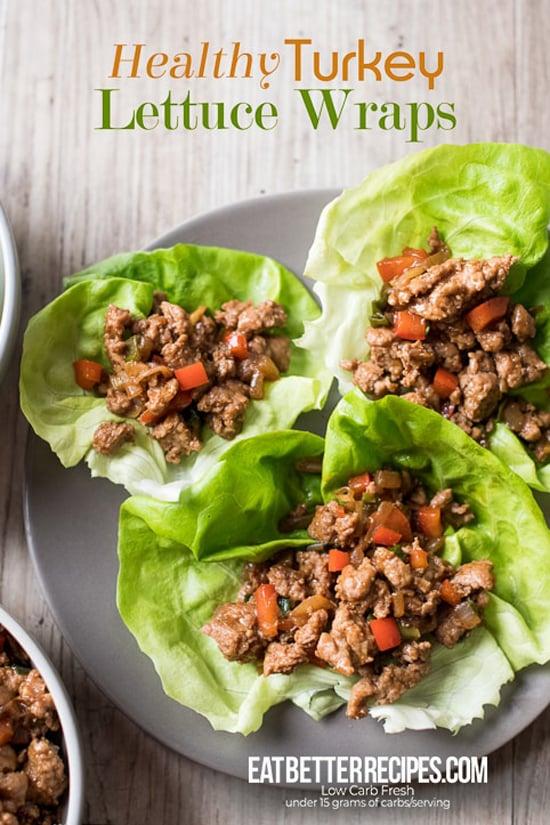 Healthy Turkey Lettuce Wraps | @EatBetterRecipes