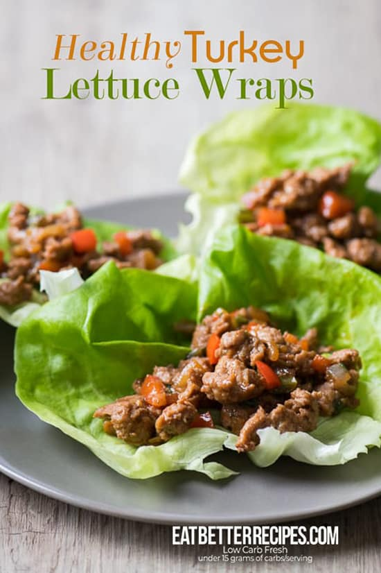 Healthy Turkey Lettuce Wraps on a plate