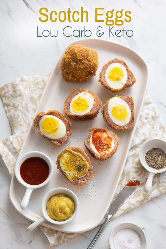 Low Carb Scotch Eggs on a plate
