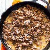 Low Carb Skillet Beef Mushrooms In Cream Sauce Keto Recipe @EatBetterRecipes