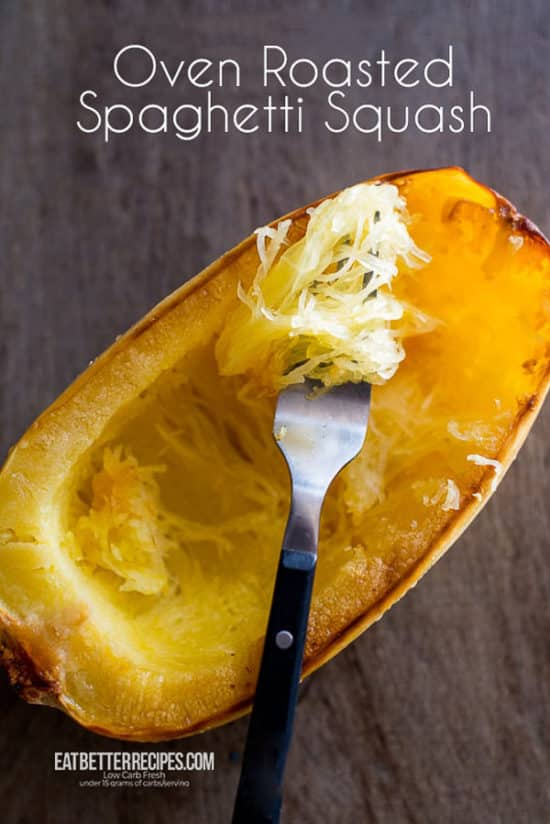 Cooked Spaghetti Squash in Oven on a fork