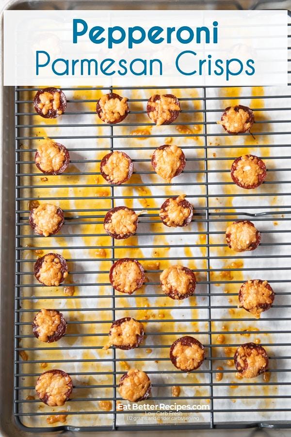 Pepperoni parmesan crisp on a baking cooling rack