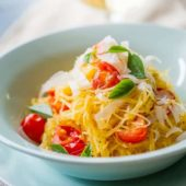 Baked Spaghetti Squash with Fresh Tomatoes and Parmesan Cheese