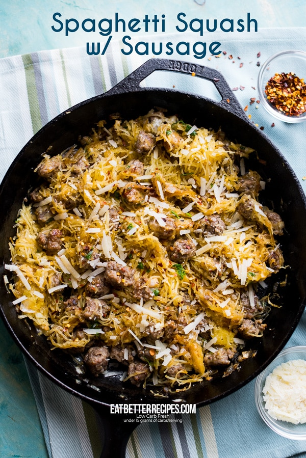 How to Cook Spaghetti Squash Recipe with Sausage   EatBetterRecipes.com