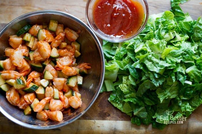 Sriracha Shrimp Cocktail Salad in a bowl
