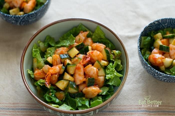 Sriracha Shrimp Cocktail Salad on a bowl