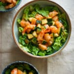 From classic appetizer into a salad! Sriracha Shrimp Cocktail Salad Recipe | @EatBetterRecipes