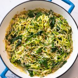 Healthy Zucchini Noodles Recipe with Spinach Parmesan @EatBetterrecipes