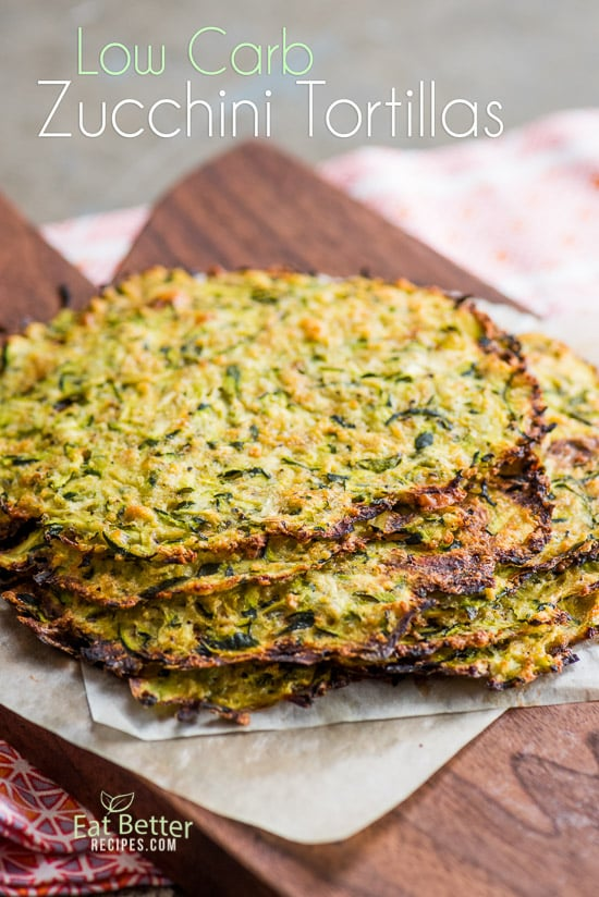 Healthy Zucchini Tortillas stacked on a cutting board