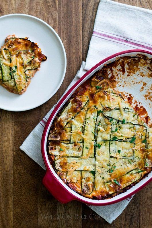 Healthy zucchini lasagna recipe whiteonricecouple.com